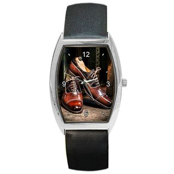 "Unique Mens "" Shoes "" Barrel Watch for Men of Great Style with Leather Bands"