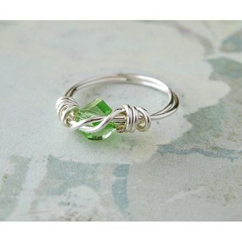 Peridot Helix Swarovski Crystal Silver Wrapped Ring , August Birthstone - Size 2.5 Pinkie