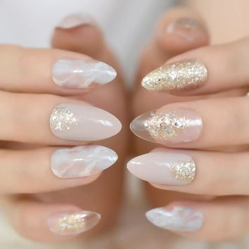 Pointed Stiletto False Nail Art Tips Nude Grey Marble Cloud Fake Nails Clear Shimmer Glitter Press on Full Summer Daily Wear