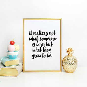 Albus Dumbledore quote art Birthday gift Nursery decor New baby gift Wall art Harry Potter quote print - it matters not what someone is born