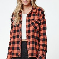 Volcom Growin Wild Flannel Button-Down Shirt - Womens Shirts - Orange