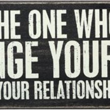 """""""Find the One Who Will Change Your Life - Not Just Your Relationship Status"""" Box Sign - 12-in x 5-in"""