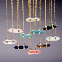 Bullet Shape Natural Stone Real Amethyst Necklaces Turquoise Crystal Stone Quartz Pendants Necklaces For Female