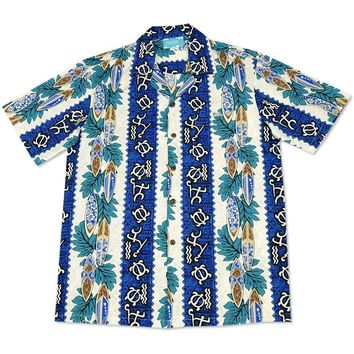 hieroglyph blue hawaiian cotton shirt