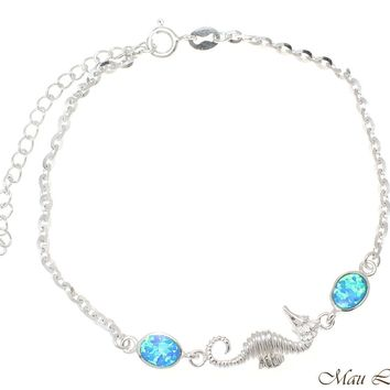 """925 Sterling Silver Rhodium Hawaiian Seahorse Blue Opal Link Chain Anklet 9""""+"""