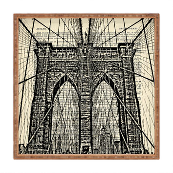 DarkIslandCity Brooklyn Bridge On Dictionary Paper Square Tray
