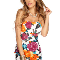 Orange Teal Floral Print Body Con Dress