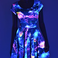UV Glow Galaxy Print  Cap Sleeve Fit and Flare Skater Skate Dress Rave Festival Clubwear -E7846
