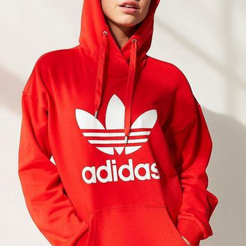 Adidas Women Fashion Hooded Top Pullover Sweater Sweatshirt Hoodie Casual Sports Shorts Red