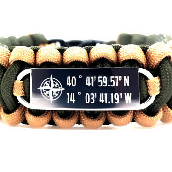 550 Paracord Bracelet with Stainless Steel ID Tag Engraved Personalized Coordinates
