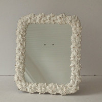 Mirror Vintage Syroco Wood Painted Cottage White by MollyMcShabby