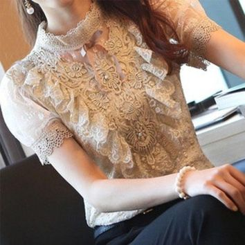 ONETOW 2013 spring and summer basic shirt stand collar royal bubble short-sleeve slim chiffon lace shirt female