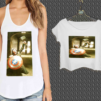 Loki Captain America and Thor For Woman Tank Top , Man Tank Top / Crop Shirt, Sexy Shirt,Cropped Shirt,Crop Tshirt Women,Crop Shirt Women S, M, L, XL, 2XL**
