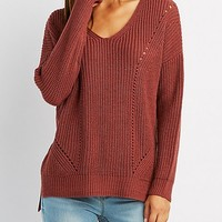 Shaker Stitch Ribbed Trim Sweater