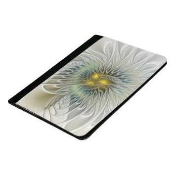Golden Flower Fantasy, abstract Fractal Art Padfolio