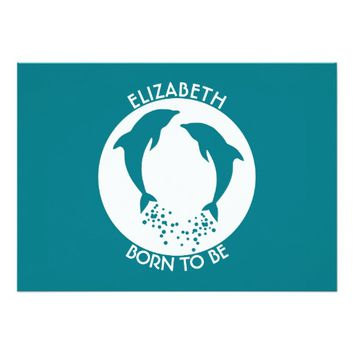 Turquoise Playing Jumping Dolphins With Bubbles 5x7 Paper Invitation Card