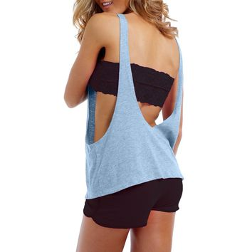 Women's Juniors Tank Top Sexy Open Sides and Back LIGHT BLUE