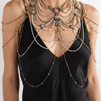 Erickson Beamon - Swan Lake gold-plated, crystal and faux pearl body chain