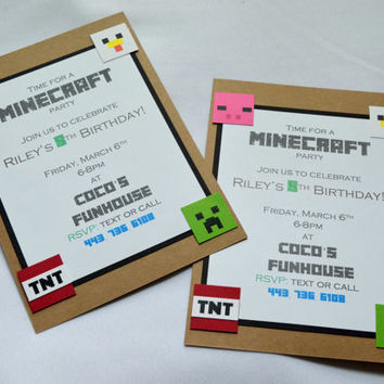 Minecraft Birthday Party Invitations birthday invitations