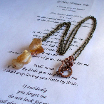 Long Mixed Metal And Raw Citrine Nugget Necklace