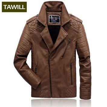TAWILL Winter Fashion Bomber Fleece Warm Jackets Male Leather Jacket Casual Overcoat Military Jacket  Men's Clothing QL1781