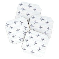 Vy La Airplanes And Stripes Coaster Set