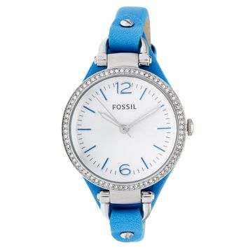 Fossil Women's ES3474 Georgia Mini Round Blue Leather Strap Watch (Color: Gold & Blue)