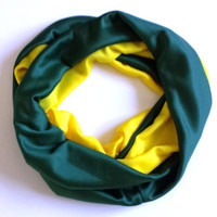 Green and Yellow Color Blocked Infinity Scarf Green Bay Sports Womens Scarves Football Fan Green and Gold Circle Scarf