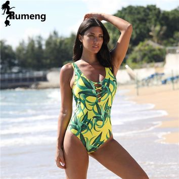RUMENG 2018 Sexy One Piece Swimsuit Women Swimwear Green Leaf Bodysuit Bandage Cut Out