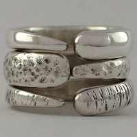 Size 4 Vintage Sterling Silver Stackable Rings