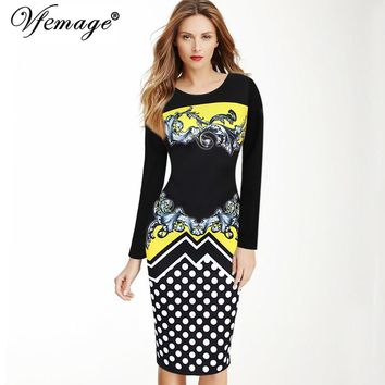 Vfemage Womens Autumn Elegant Retro Polka Dot Printed Vestidos Casual Work Office Business Party Pencil Sheath Dress 3066