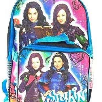 "Disney Descendants Girls 16"" Canvas Blue School Backpack w/Match Lunch Bag"