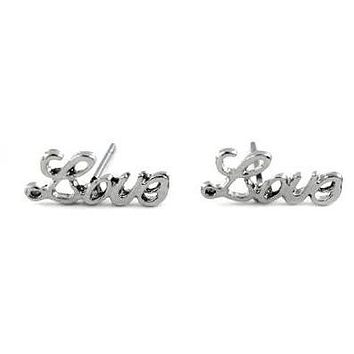 Silver Love Stud Earrings
