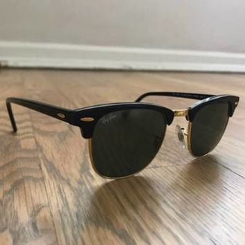 RayBan 49mm Black Clubmaster Sunglasses with Original Case