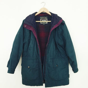 forest green winter jacket with plaid lining vintage 90s 80s
