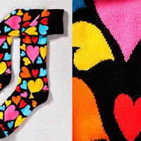 LONELY HEARTS CLUB, WOMEN'S KNEE-HIGH SOCK, MULTI-COLOR HEARTS