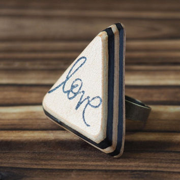 Love Leather Ring - Adjustable, Handmade Triangle Hand Stamped, Acronym, Custom initial, texting abbreviation, gift for her #Black