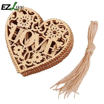 10pcs/Lot Wedding Decoration Laser Cut Wood Casamento Heart Embellishment Wooden Shape Craft Wedding Decoration Marriage JR0052