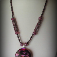 Jewelry, Handmade Necklace, Dichroic Pendant, Mozambique Garnets, Onyx, Sterling Silver, Statteam
