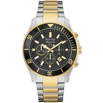 Bulova Mens Marine Star Chronograph -Two-Tone Case & Bracelet - Black Dial