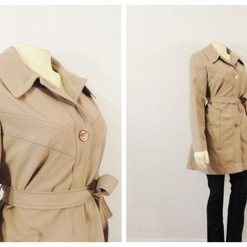 Vintage Coat 70s Belted Khaki Taupe Jacket Button Down Size Medium