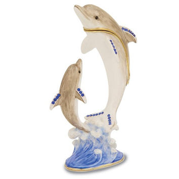 Bejeweled Mother And Baby Dolphin Trinket Box