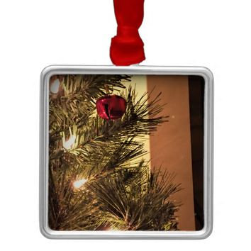 Red Jingle Bell on Christmas Tree Metal Ornament