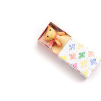 Tiny sunny cat in a matchbox. Pocket animal, pastel lemon colors. Toy for kids or your BJD doll.