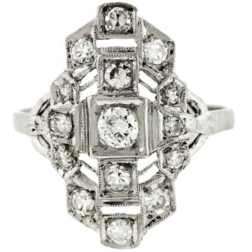 Ladies Antique Art Deco Platinum 0.55ctw Diamond Cocktail Ring