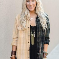 Vintage Ombre Plaid Button Up Flannel