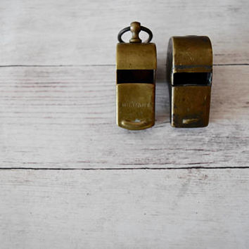 Brass Military Whistle/ Vintage Brass Whistle/ Antique Whistles/ Pair of Whistles/ Whistle Key Chain/ Whistle Pendant/ Military/ WWI
