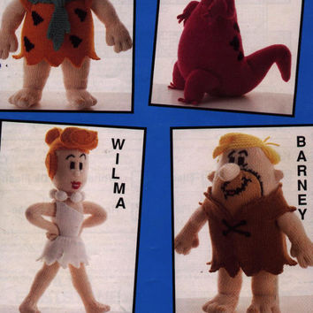 Flintstones Knitting Pattern PDF instant download, Fred, Barney, Wilma and Dino the Dinosaur