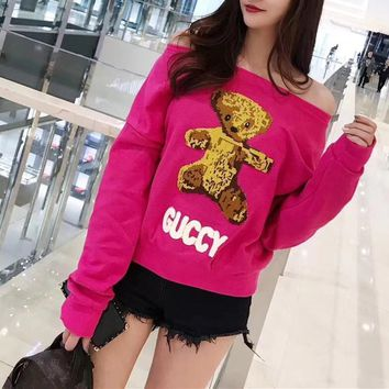 """Gucci"" Fashion Cute Cartoon Bear Long Sleeve Sweater Women Casual Tops"