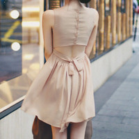 Mini Tie Back Dress Nude